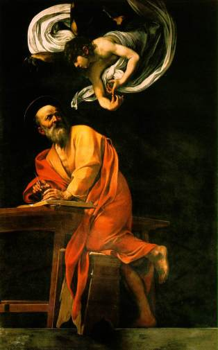 He seems to be serving his muses.The Inspiration of Saint Matthew, by Caravaggio. Image courtesy of Wikimedia Commons.