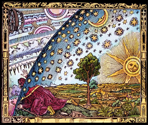 "The caption on Flammarion's engraving: ""A missionary of the Middle Ages tells that he had found the point where the sky and the Earth touch."""