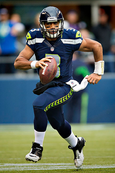 Quarterback Russell Wilson touts the benefits of mindfulness practice.  Photo courtesy of Wikipedia.