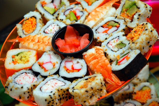 """""""I'd love to go out for dinner to get a sushi assortment plate"""" would be much more polite than, """"I don't know, whatever.""""  Can't you just taste the specificity? Image courtesy of Wikipedia."""
